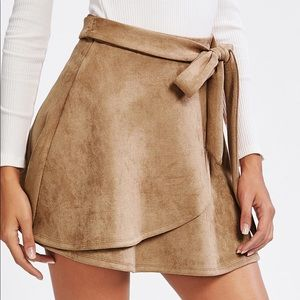 Dresses & Skirts - Belted Tie Suede Skirt